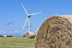 Hay Bales. Shot taken of local turbines in the lake district, Cumbria. Shot taken on a very windy summers day with blue sky. Taken from a vantage point Stock Photography