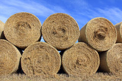 Hay Bales against Blue Sky Stock Photo