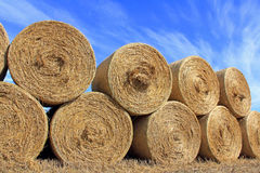 Hay Bales against Blue Sky Royalty Free Stock Image