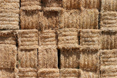 Hay bales background. Close up of stacked bales of hay Royalty Free Stock Photos
