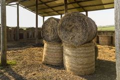 Hay Bales In A Barn. Royalty Free Stock Image