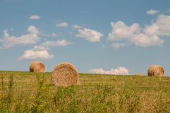 Hay Bales and Blue Skies in Upstate, NY Stock Images