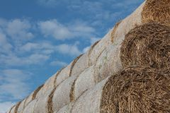 Hay bales and cloudy sky Royalty Free Stock Photos
