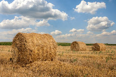 Hay Bales. On a countryside with white clouds Royalty Free Stock Images