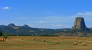 Hay Bales & Devils Tower, Wyoming Stock Photos