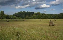 Hay Bales em Indiana Farm fotos de stock royalty free