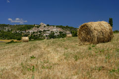 Hay bales on a field in Provence Royalty Free Stock Images