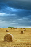 Hay Bales in Field with Stormy Sky Stock Images