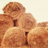 Hay bales on the field at summer Royalty Free Stock Photography