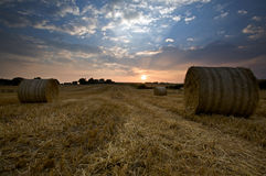 Hay bales in fields. A picturesque view of a field with bales of hay on an evening in Ireland stock photography
