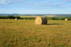 Hay bales and  fields in fall Stock Image
