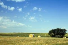 Hay Bales i buffelGap grässlättar, South Dakota royaltyfri bild