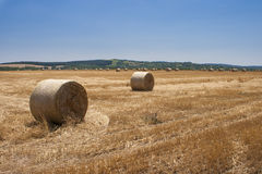 Hay Bales Landscape Lizenzfreie Stockfotografie