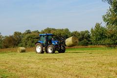 Hay bales are loaded Stock Image
