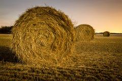 Hay Bales at Night Royalty Free Stock Images
