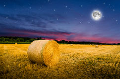 Hay bales in the night Royalty Free Stock Image