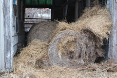 Hay Bales. Old Abandoned Barn Hay Bales Stock Photography