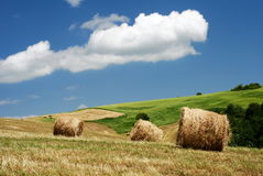 Hay bales over the hillside royalty free stock photography