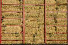 Hay bales piled within a cart Stock Photos