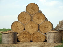 Hay bales pyramid Royalty Free Stock Photo