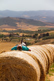 Hay bales relaxing Stock Photos