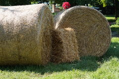 Hay bales. 2 round hay bales with one small square shaped stock photo