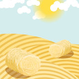 Hay bales on rural field sunny day illustration. Royalty Free Stock Image