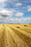 Hay bales in stubble field Royalty Free Stock Photos