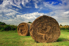 Hay Bales under a blue sky Royalty Free Stock Images