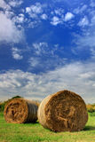 Hay bales under a blue sky II Stock Photography