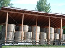 Hay Bales Under Cover royalty free stock photography