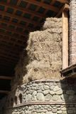 Hay bales under the roof stock photo