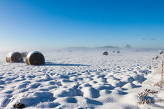 Hay bales under snow Royalty Free Stock Photography