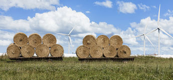 Hay Bales and Wind Turbines Stock Photos