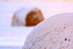 Hay Bales in Winter. Saskatchewan Canada Stock Photo