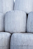 Hay Bales Wrapped in Plastic Closeup Stock Photography