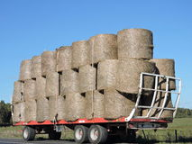 Hay balls in trailer Royalty Free Stock Image