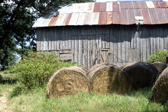 Hay and barn. Hay and old barn that is still being used Stock Photos
