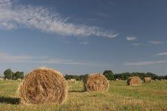 Hay and blue sky Stock Photos