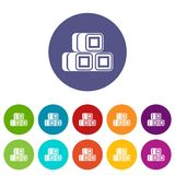 Hay bundles set icons Stock Photography