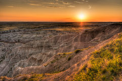 Hay Butte Overlook Sunset - Badlands National Park Royalty Free Stock Images