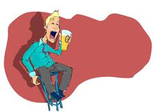 Hay can I have a bit of silence!!!. Blond man on a high chair is yelling or singing with a beer in his hand Royalty Free Stock Images