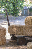 Hay On A Cart. Bales of hay sit on an old cart Stock Photo