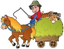 Hay cart with cartoon farmer Stock Photo