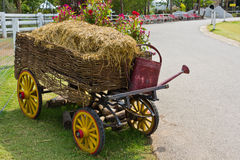 Hay cart. In the garden Stock Photography