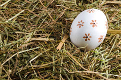 Hay and easter eggs Stock Image