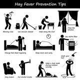Hay Fever Prevention Allergy Tips Clipart. A set of human pictogram representing how to prevent hay fever. This include many actions such as keeping the house Stock Photography