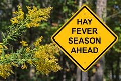 Hay Fever Season Ahead Warning-Zeichen stockfotos