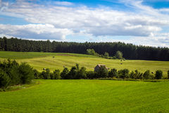 Hay field landscape blue sky quebec canada Stock Images