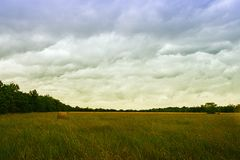 Hay Field na de Zomeronweer Stock Afbeeldingen
